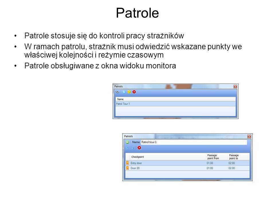 Patrole Patrole stosuje się do kontroli pracy strażników W ramach patrolu, strażnik musi odwiedzić wskazane punkty we właściwej kolejności i reżymie czasowym Patrole obsługiwane z okna widoku monitora