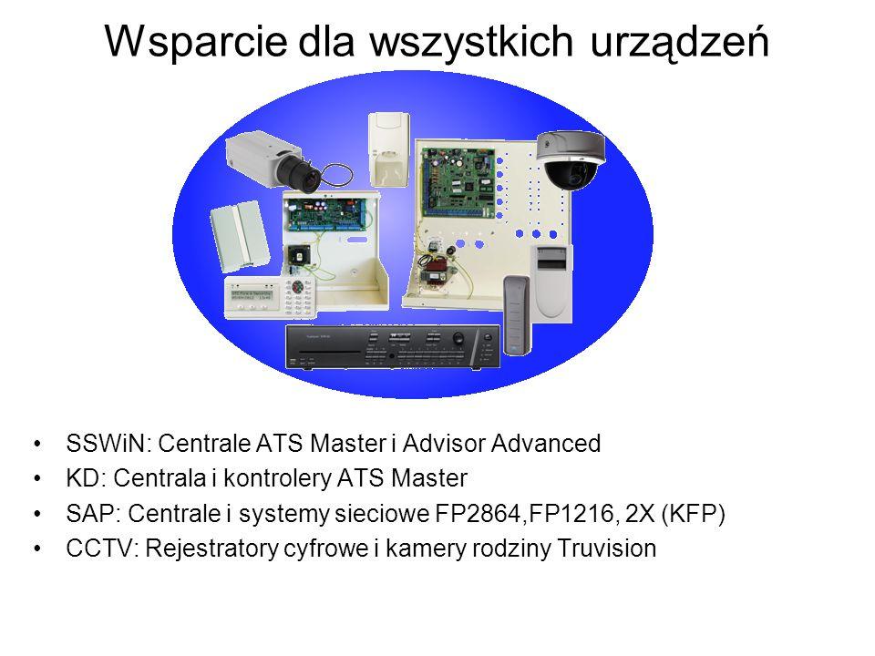 Wsparcie dla wszystkich urządzeń SSWiN: Centrale ATS Master i Advisor Advanced KD: Centrala i kontrolery ATS Master SAP: Centrale i systemy sieciowe FP2864,FP1216, 2X (KFP) CCTV: Rejestratory cyfrowe i kamery rodziny Truvision