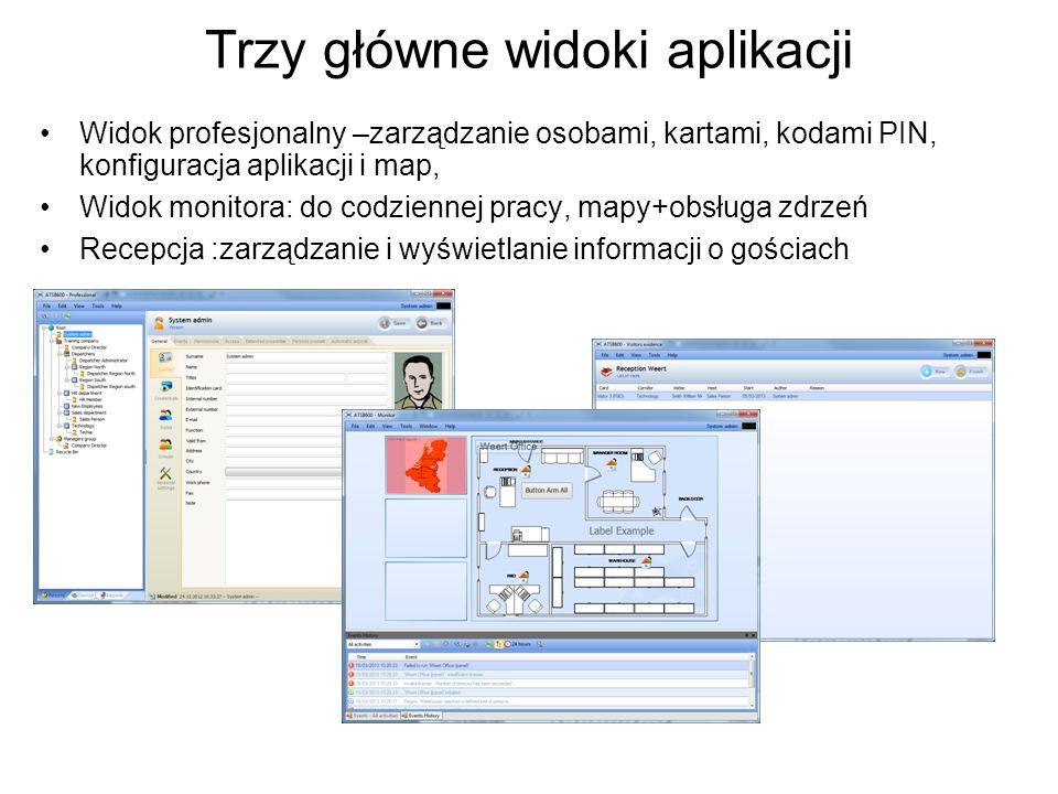 Trzy główne widoki aplikacji Widok profesjonalny –zarządzanie osobami, kartami, kodami PIN, konfiguracja aplikacji i map, Widok monitora: do codzienne