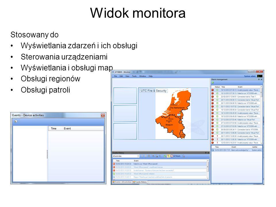 Widok monitora Stosowany do Wyświetlania zdarzeń i ich obsługi Sterowania urządzeniami Wyświetlania i obsługi map Obsługi regionów Obsługi patroli