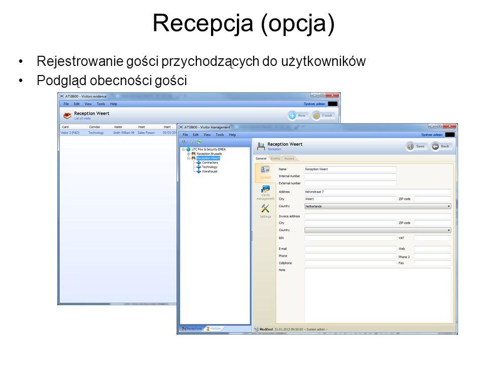 Recepcja (opcja) Rejestrowanie gości przychodzących do użytkowników Podgląd obecności gości