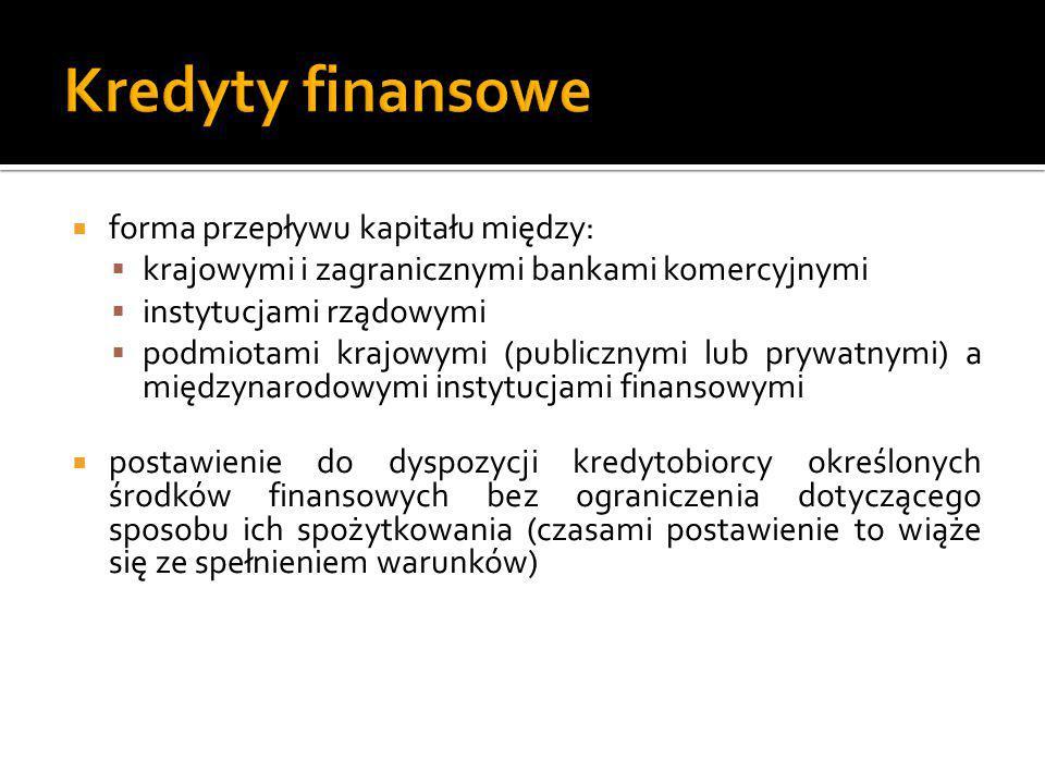  forma przepływu kapitału między:  krajowymi i zagranicznymi bankami komercyjnymi  instytucjami rządowymi  podmiotami krajowymi (publicznymi lub p