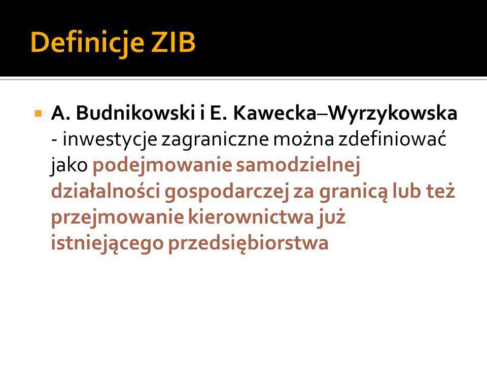  A. Budnikowski i E. Kawecka–Wyrzykowska - inwestycje zagraniczne można zdefiniować jako podejmowanie samodzielnej działalności gospodarczej za grani
