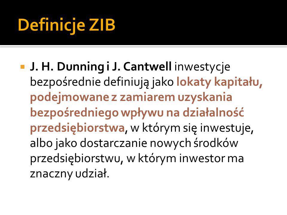  J. H. Dunning i J. Cantwell inwestycje bezpośrednie definiują jako lokaty kapitału, podejmowane z zamiarem uzyskania bezpośredniego wpływu na działa