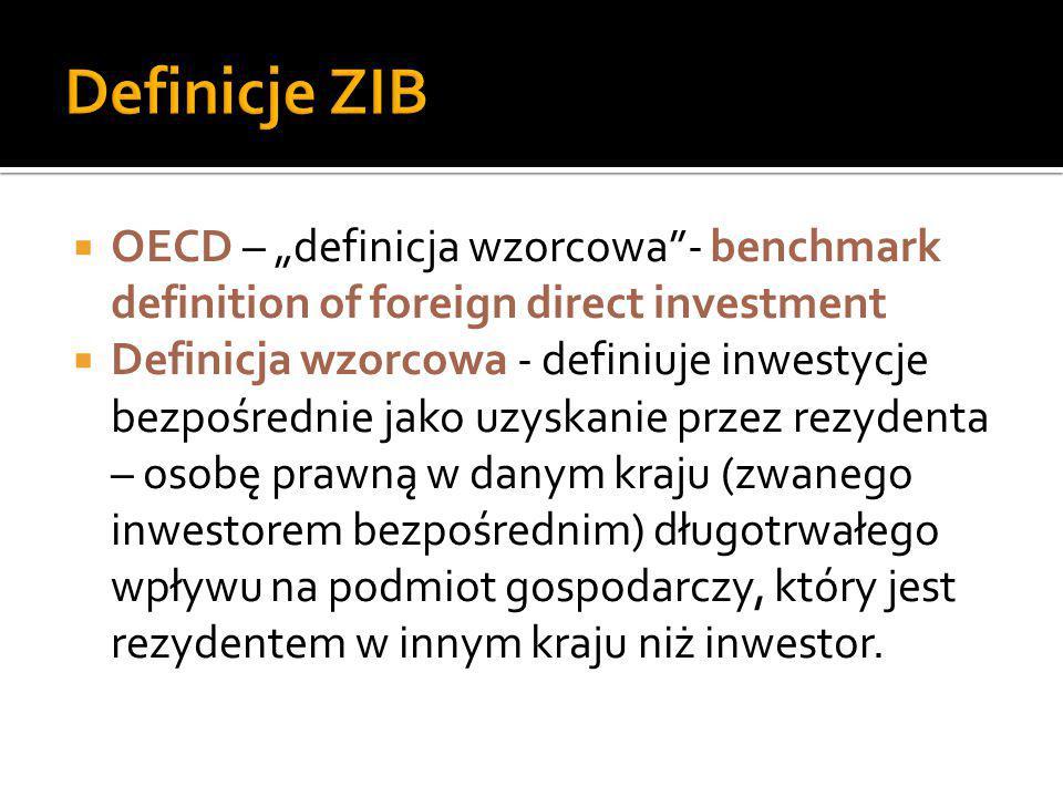 """ OECD – """"definicja wzorcowa""""- benchmark definition of foreign direct investment  Definicja wzorcowa - definiuje inwestycje bezpośrednie jako uzyskan"""