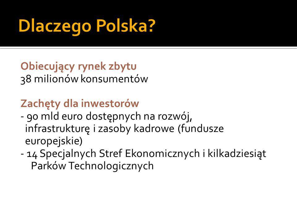 Obiecujący rynek zbytu 38 milionów konsumentów Zachęty dla inwestorów - 90 mld euro dostępnych na rozwój, infrastrukturę i zasoby kadrowe (fundusze eu