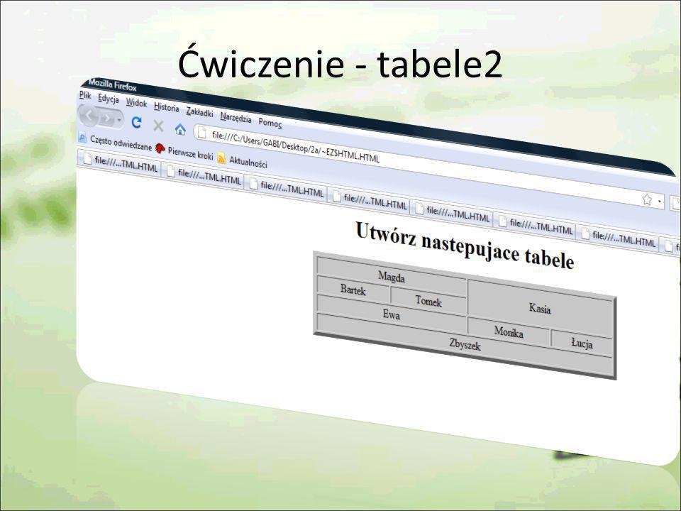 Ćwiczenie - tabele2