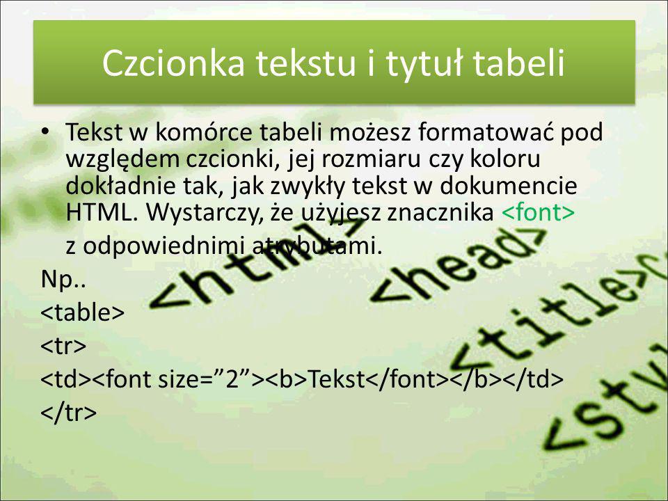 Czcionka tekstu i tytuł tabeli Tekst w komórce tabeli możesz formatować pod względem czcionki, jej rozmiaru czy koloru dokładnie tak, jak zwykły tekst