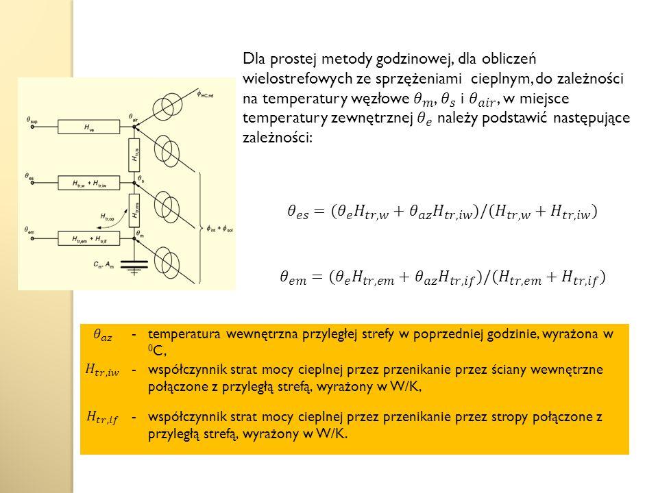 -temperatura wewnętrzna przyległej strefy w poprzedniej godzinie, wyrażona w 0 C, -współczynnik strat mocy cieplnej przez przenikanie przez ściany wewnętrzne połączone z przyległą strefą, wyrażony w W/K, -współczynnik strat mocy cieplnej przez przenikanie przez stropy połączone z przyległą strefą, wyrażony w W/K.