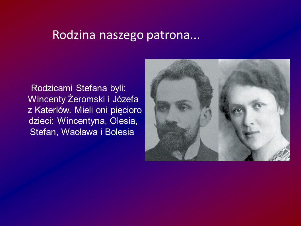 Rodzicami Stefana byli: Wincenty Żeromski i Józefa z Katerlów. Mieli oni pięcioro dzieci: Wincentyna, Olesia, Stefan, Wacława i Bolesia. Rodzina nasze