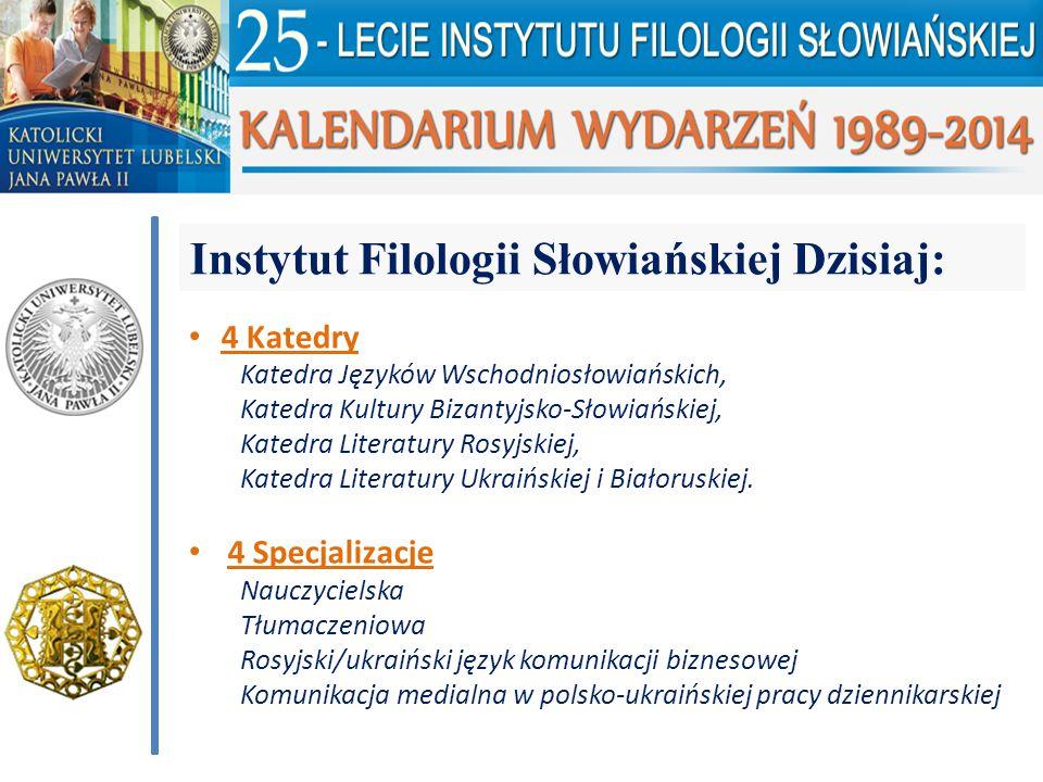 Instytut Filologii Słowiańskiej Dzisiaj: 4 Katedry Katedra Języków Wschodniosłowiańskich, Katedra Kultury Bizantyjsko-Słowiańskiej, Katedra Literatury