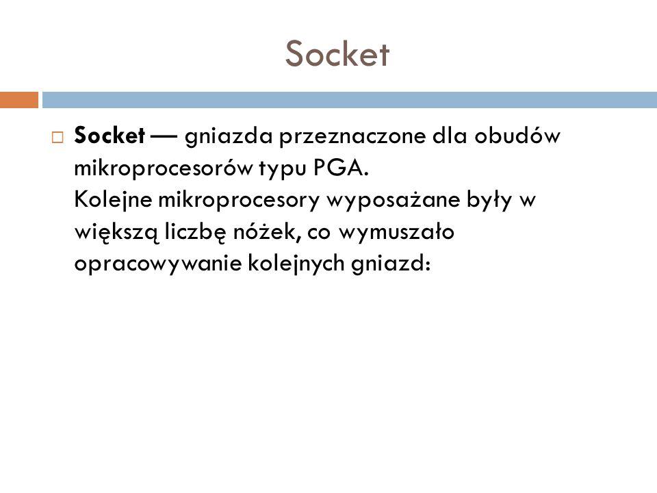 Socket  Socket — gniazda przeznaczone dla obudów mikroprocesorów typu PGA. Kolejne mikroprocesory wyposażane były w większą liczbę nóżek, co wymuszał