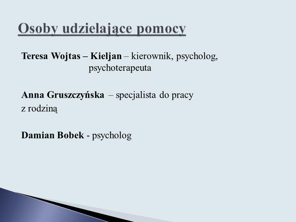 Teresa Wojtas – Kieljan – kierownik, psycholog, psychoterapeuta Anna Gruszczyńska – specjalista do pracy z rodziną Damian Bobek - psycholog