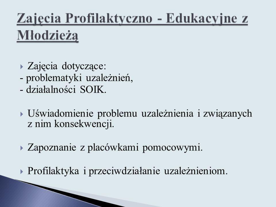  Zajęcia dotyczące: - problematyki uzależnień, - działalności SOIK.  Uświadomienie problemu uzależnienia i związanych z nim konsekwencji.  Zapoznan