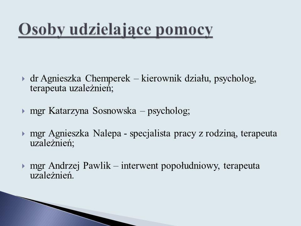  dr Agnieszka Chemperek – kierownik działu, psycholog, terapeuta uzależnień;  mgr Katarzyna Sosnowska – psycholog;  mgr Agnieszka Nalepa - specjali