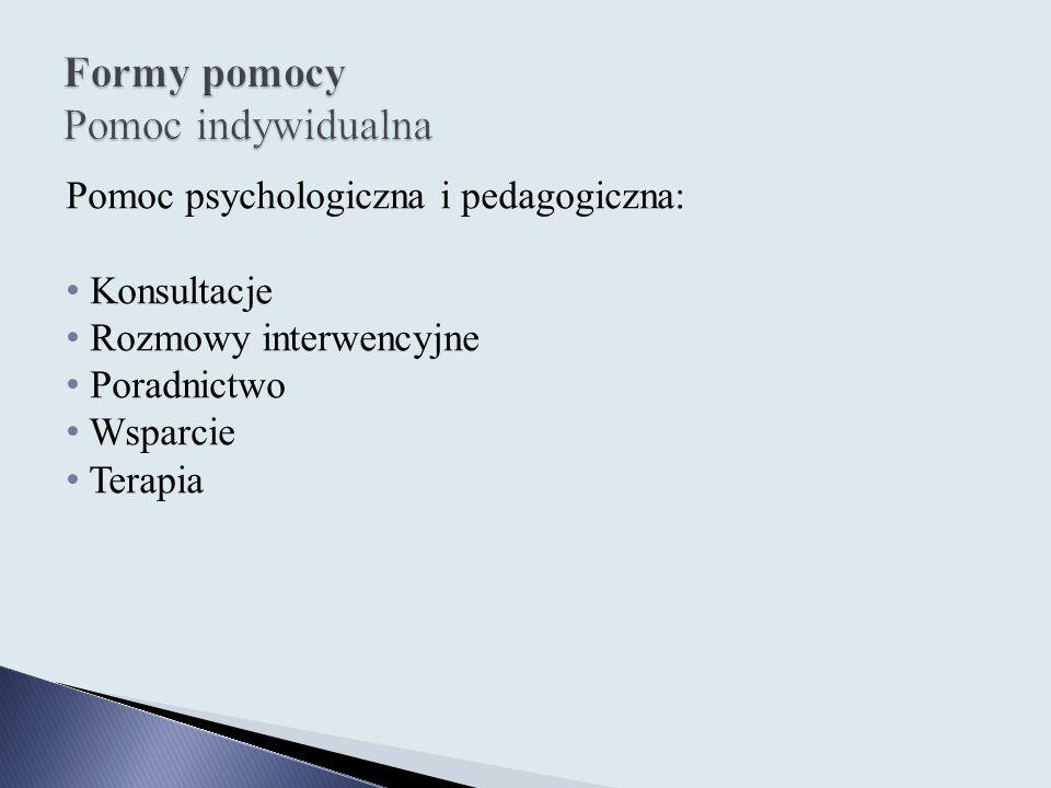 Pomoc psychologiczna i pedagogiczna: Konsultacje Rozmowy interwencyjne Poradnictwo Wsparcie Terapia
