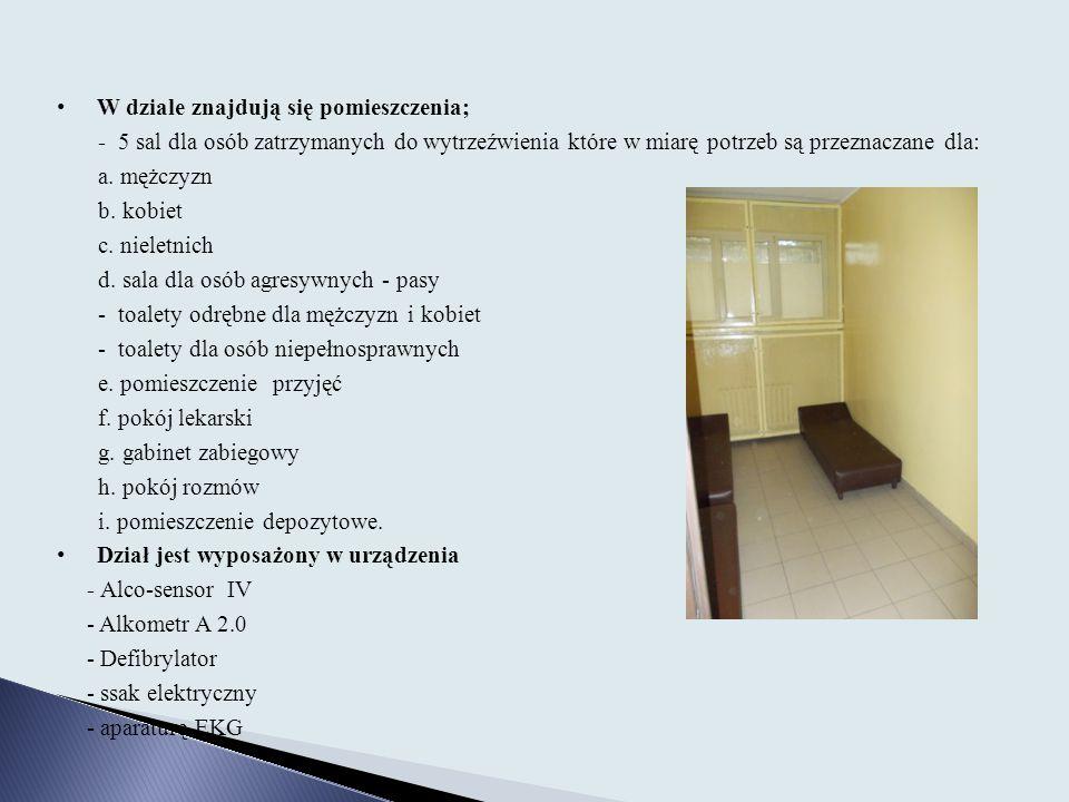 W dziale znajdują się pomieszczenia; - 5 sal dla osób zatrzymanych do wytrzeźwienia które w miarę potrzeb są przeznaczane dla: a. mężczyzn b. kobiet c