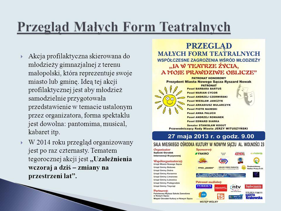  Akcja profilaktyczna skierowana do młodzieży gimnazjalnej z terenu małopolski, która reprezentuje swoje miasto lub gminę. Ideą tej akcji profilaktyc