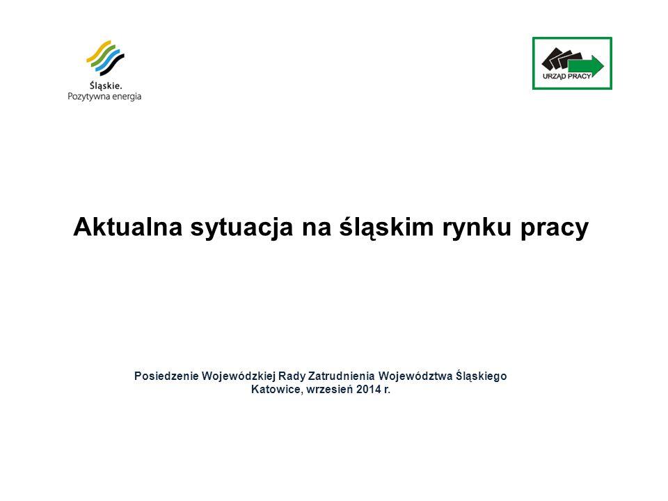 Aktualna sytuacja na śląskim rynku pracy Posiedzenie Wojewódzkiej Rady Zatrudnienia Województwa Śląskiego Katowice, wrzesień 2014 r.