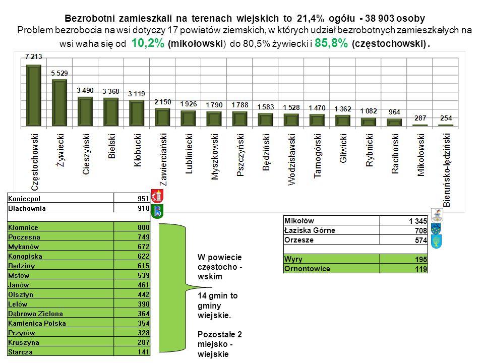 Bezrobotni zamieszkali na terenach wiejskich to 21,4% ogółu - 38 903 osoby Problem bezrobocia na wsi dotyczy 17 powiatów ziemskich, w których udział b