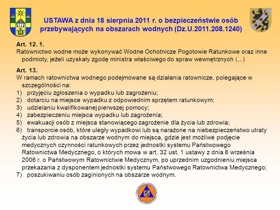 USTAWA z dnia 18 sierpnia 2011 r. o bezpieczeństwie osób przebywających na obszarach wodnych (Dz.U.2011.208.1240) Art. 12. 1. Ratownictwo wodne może w