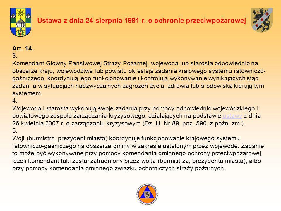 Ustawa z dnia 24 sierpnia 1991 r. o ochronie przeciwpożarowej Art. 14. 3. Komendant Główny Państwowej Straży Pożarnej, wojewoda lub starosta odpowiedn