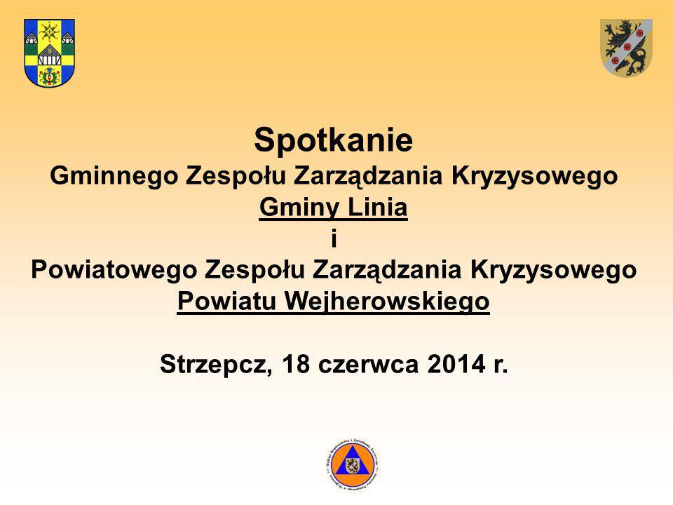 Spotkanie Gminnego Zespołu Zarządzania Kryzysowego Gminy Linia i Powiatowego Zespołu Zarządzania Kryzysowego Powiatu Wejherowskiego Strzepcz, 18 czerwca 2014 r.