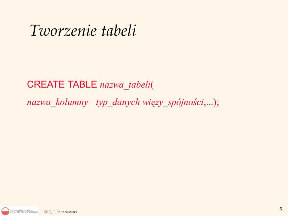 5 SBD, L.Banachowski Tworzenie tabeli CREATE TABLE nazwa_tabeli( nazwa_kolumny typ_danych więzy_spójności,...);