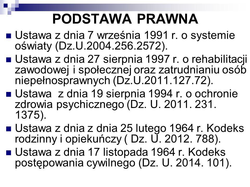 PODSTAWA PRAWNA Ustawa z dnia 7 września 1991 r. o systemie oświaty (Dz.U.2004.256.2572). Ustawa z dnia 27 sierpnia 1997 r. o rehabilitacji zawodowej