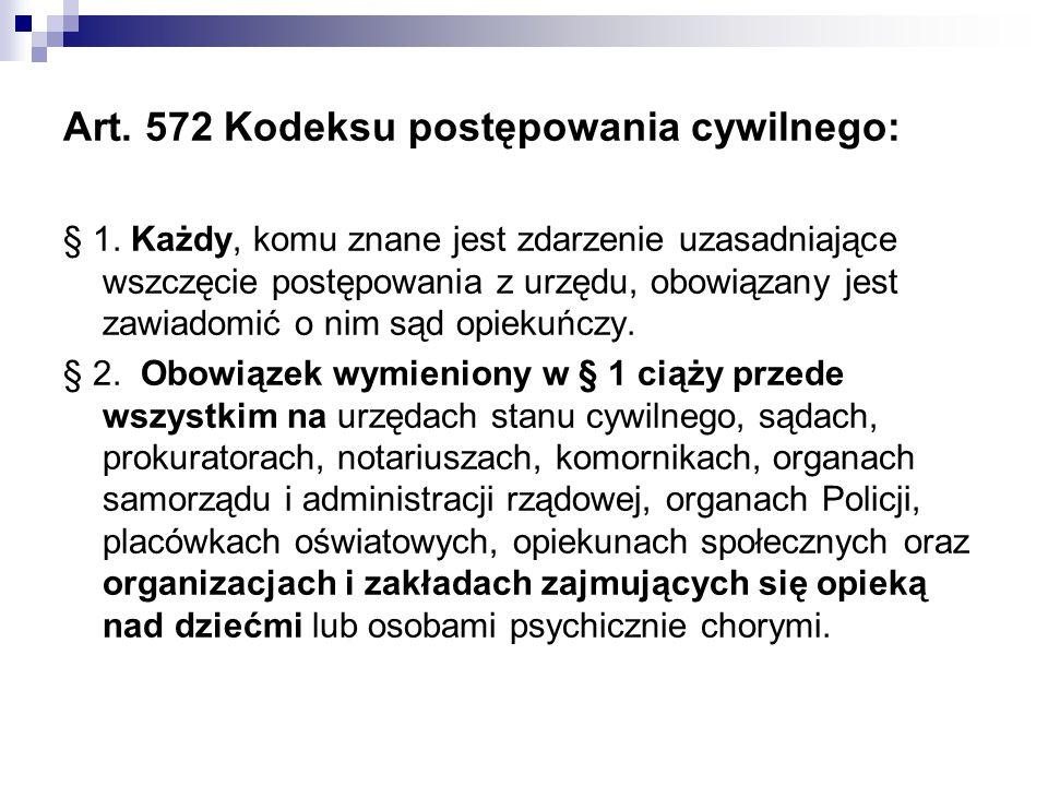 Art. 572 Kodeksu postępowania cywilnego: § 1. Każdy, komu znane jest zdarzenie uzasadniające wszczęcie postępowania z urzędu, obowiązany jest zawiadom