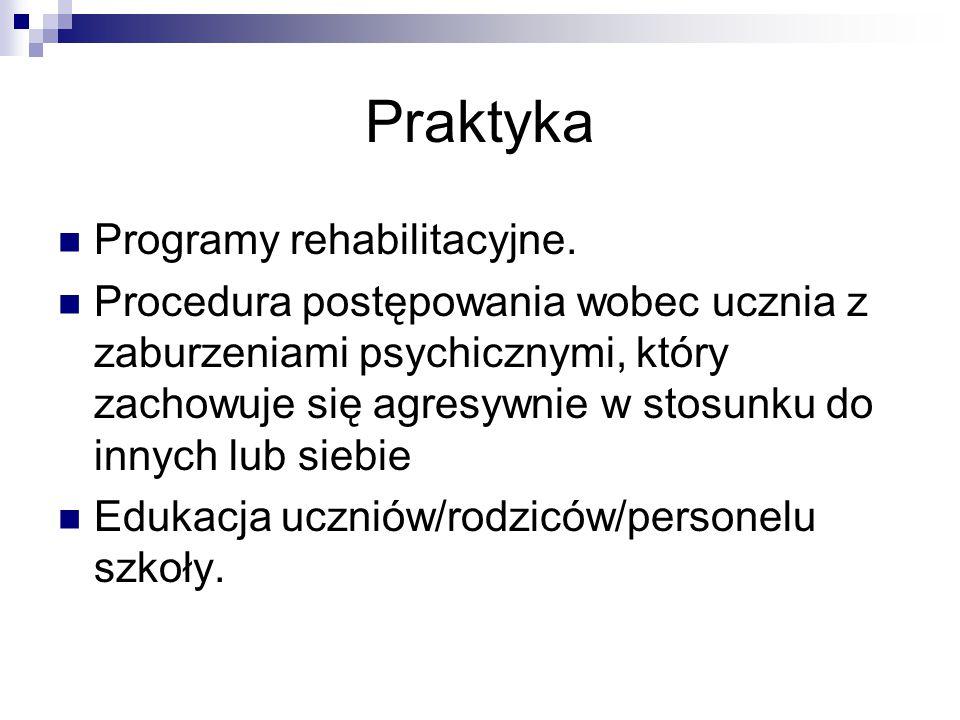 Praktyka Programy rehabilitacyjne. Procedura postępowania wobec ucznia z zaburzeniami psychicznymi, który zachowuje się agresywnie w stosunku do innyc