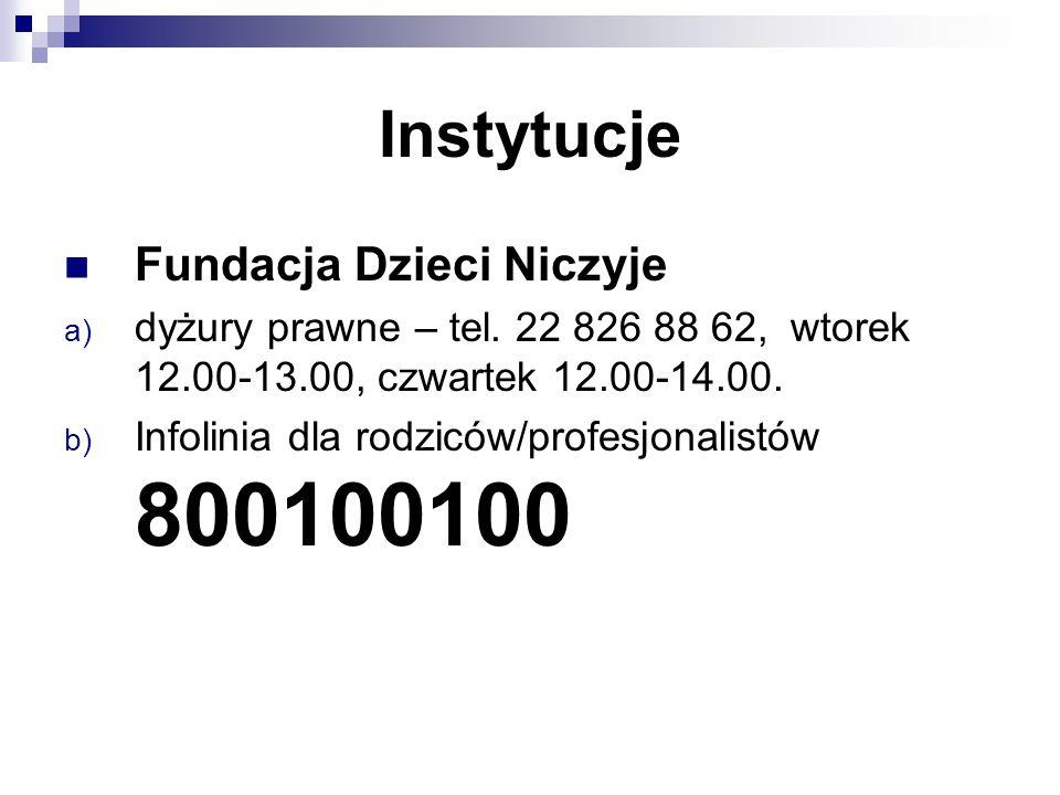 Instytucje Fundacja Dzieci Niczyje a) dyżury prawne – tel. 22 826 88 62, wtorek 12.00-13.00, czwartek 12.00-14.00. b) Infolinia dla rodziców/profesjon