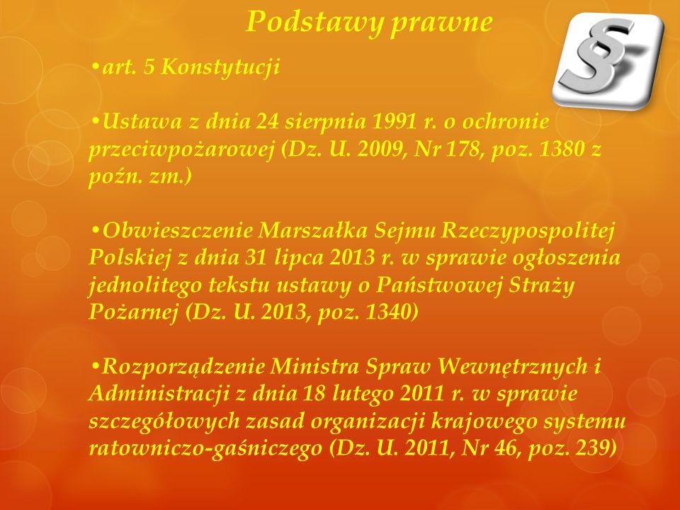 Podstawy prawne art. 5 Konstytucji Ustawa z dnia 24 sierpnia 1991 r. o ochronie przeciwpożarowej (Dz. U. 2009, Nr 178, poz. 1380 z poźn. zm.) Obwieszc