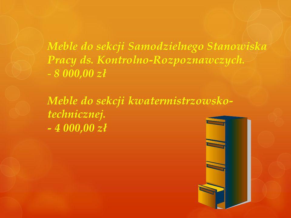 Meble do sekcji Samodzielnego Stanowiska Pracy ds. Kontrolno-Rozpoznawczych. - 8 000,00 zł Meble do sekcji kwatermistrzowsko- technicznej. - 4 000,00