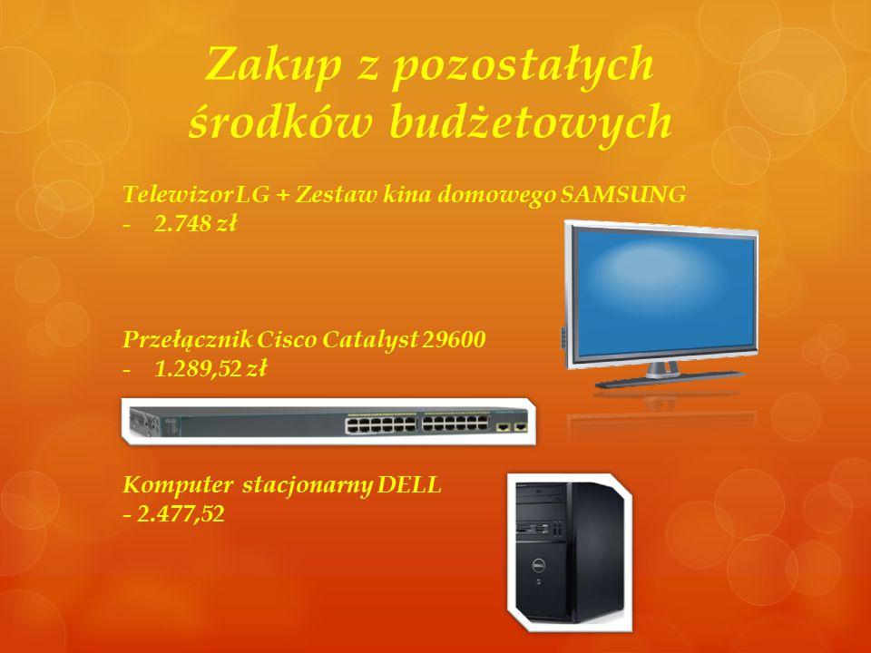 Zakup z pozostałych środków budżetowych Telewizor LG + Zestaw kina domowego SAMSUNG - 2.748 zł Przełącznik Cisco Catalyst 29600 - 1.289,52 zł Komputer stacjonarny DELL - 2.477,52
