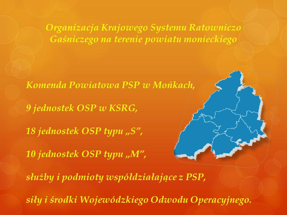Organizacja Krajowego Systemu Ratowniczo Gaśniczego na terenie powiatu monieckiego Komenda Powiatowa PSP w Mońkach, 9 jednostek OSP w KSRG, 18 jednost