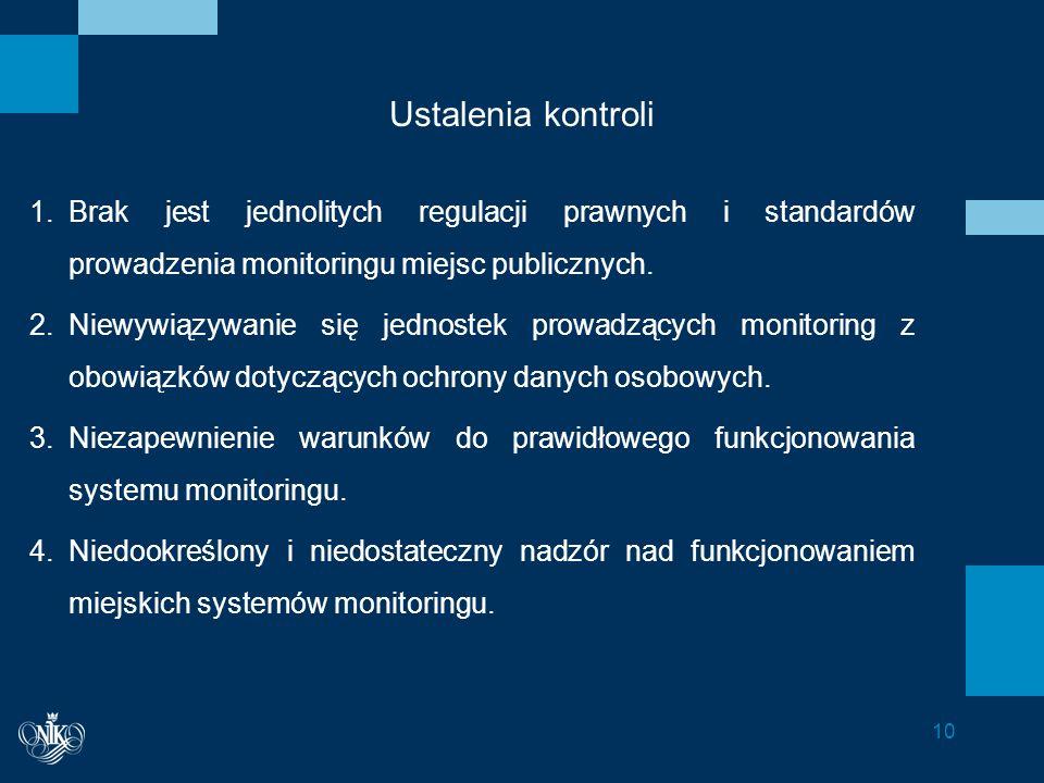 Ustalenia kontroli 1.Brak jest jednolitych regulacji prawnych i standardów prowadzenia monitoringu miejsc publicznych.