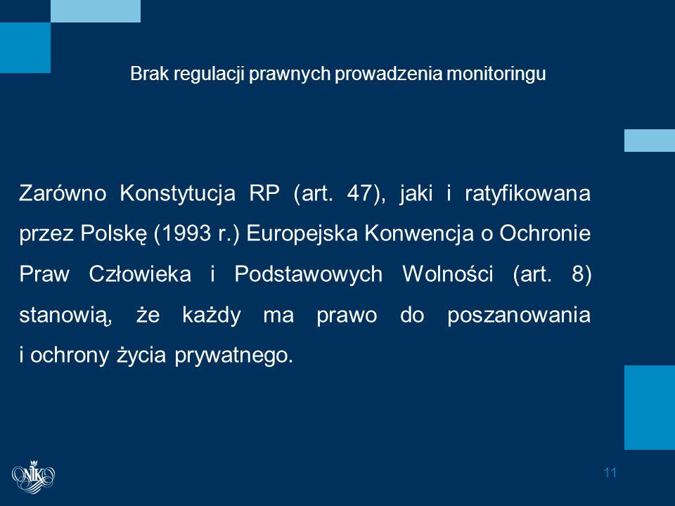Brak regulacji prawnych prowadzenia monitoringu Zarówno Konstytucja RP (art.