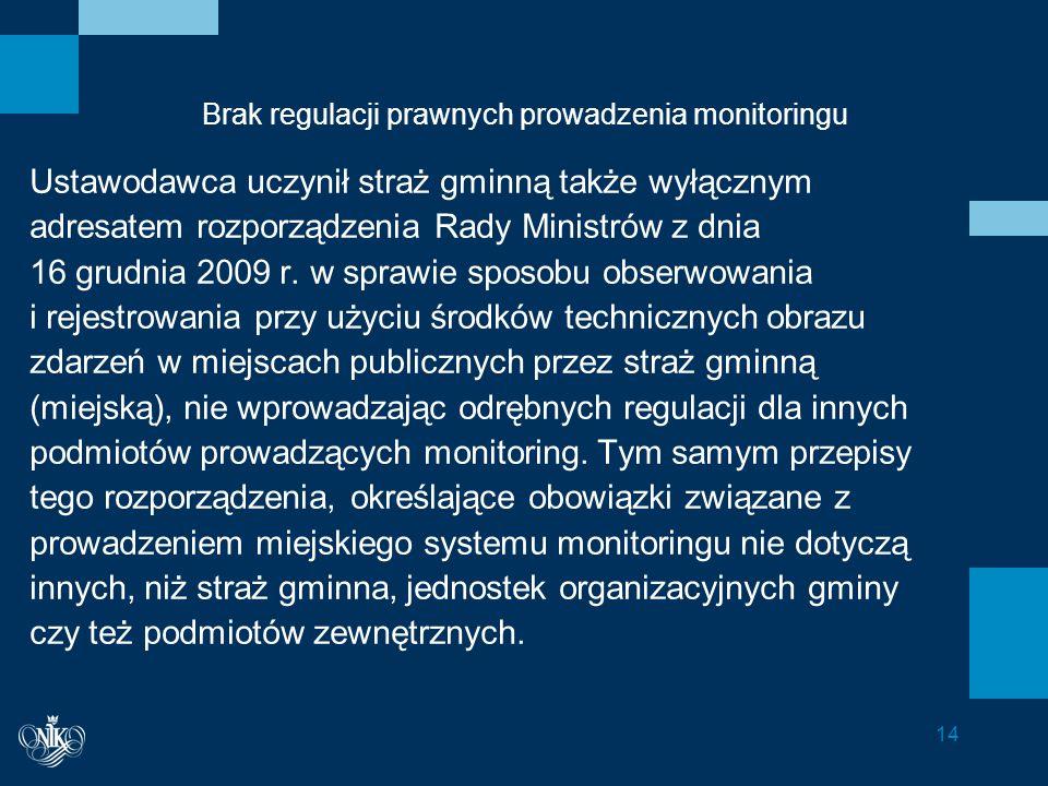 Brak regulacji prawnych prowadzenia monitoringu Ustawodawca uczynił straż gminną także wyłącznym adresatem rozporządzenia Rady Ministrów z dnia 16 grudnia 2009 r.
