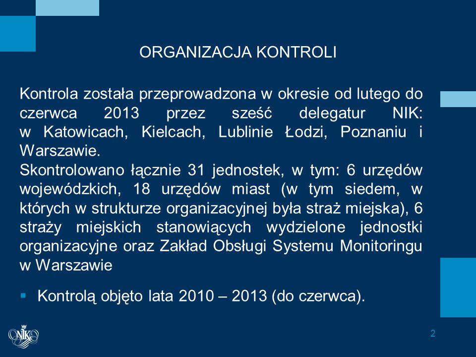 Informacje dodatkowe W wystąpieniach pokontrolnych NIK sformułowała 76 wniosków pokontrolnych, w tym: do wojewodów - 10, do burmistrzów (prezydentów) miast – 46, do komendantów straży miejskich – 16, do Dyrektora ZOSM – 4 wnioski.