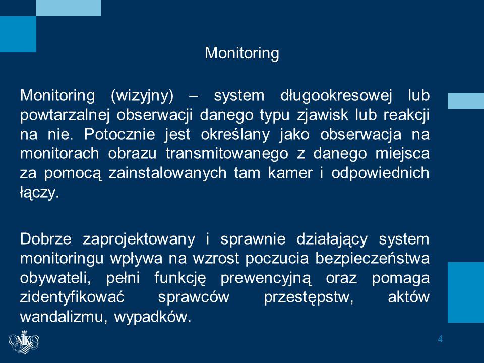 Monitoring Monitoring (wizyjny) – system długookresowej lub powtarzalnej obserwacji danego typu zjawisk lub reakcji na nie.