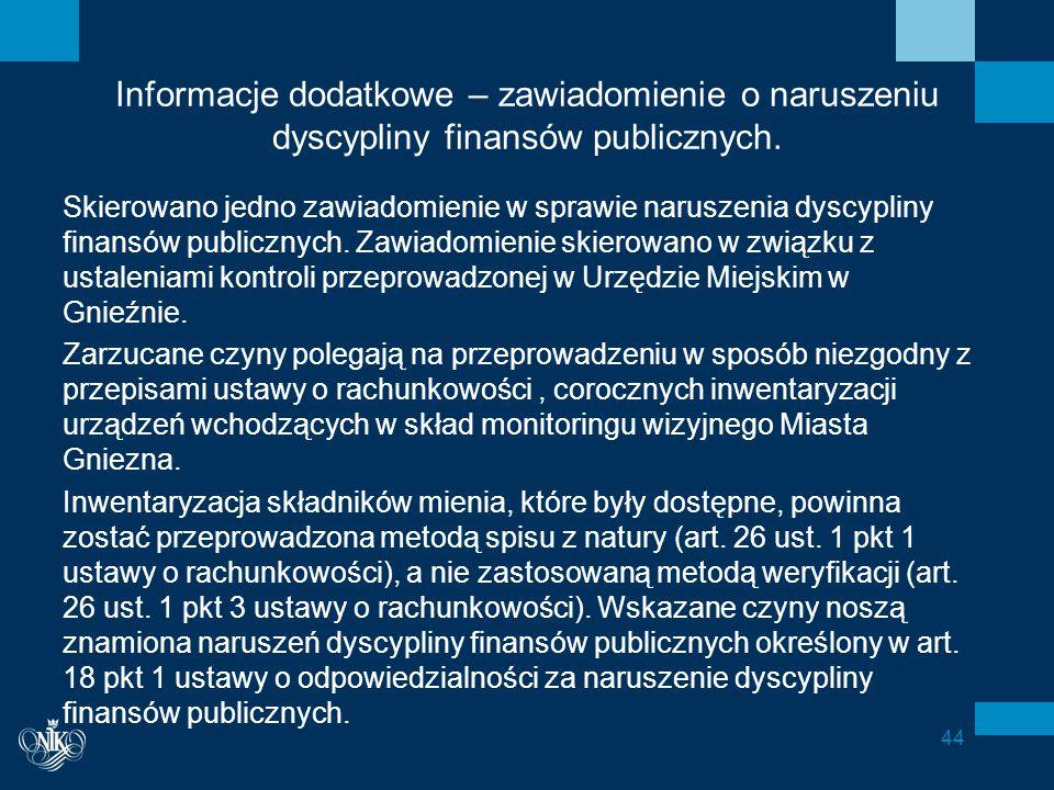 Informacje dodatkowe – zawiadomienie o naruszeniu dyscypliny finansów publicznych.
