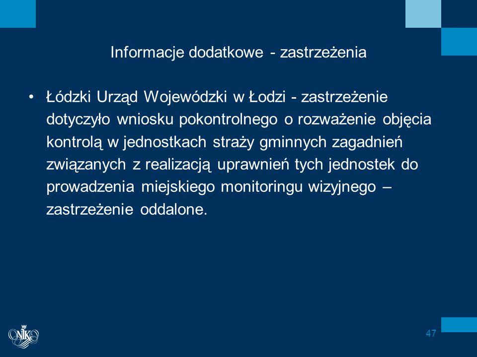 Informacje dodatkowe - zastrzeżenia Łódzki Urząd Wojewódzki w Łodzi - zastrzeżenie dotyczyło wniosku pokontrolnego o rozważenie objęcia kontrolą w jednostkach straży gminnych zagadnień związanych z realizacją uprawnień tych jednostek do prowadzenia miejskiego monitoringu wizyjnego – zastrzeżenie oddalone.