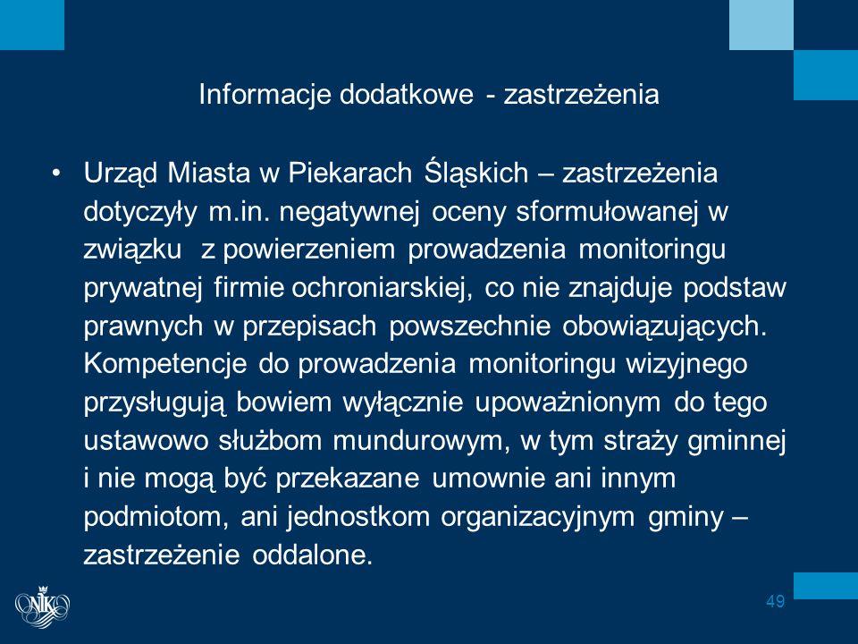 Informacje dodatkowe - zastrzeżenia Urząd Miasta w Piekarach Śląskich – zastrzeżenia dotyczyły m.in.