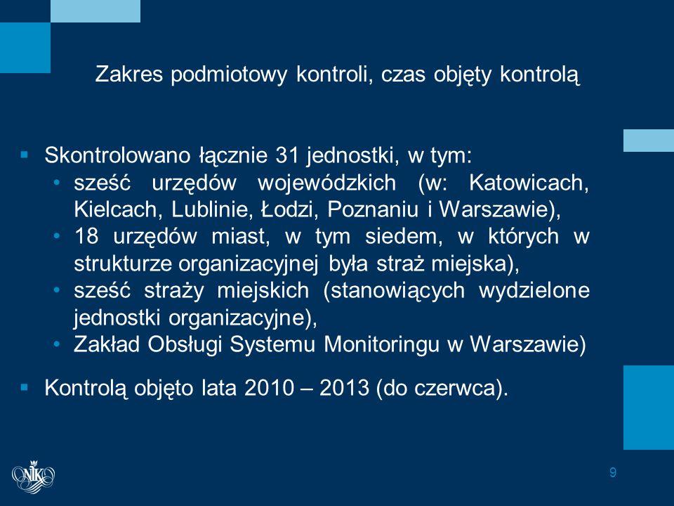 Informacje dodatkowe - zastrzeżenia Urząd Miasta w Zabrzu – zastrzeżenia dotyczyły negatywnej oceny sformułowanej w związku z powierzeniem prowadzenia monitoringu innej jednostce gminy niż straż gminna (wydziałowi Zarządzania Kryzysowego i Ochrony Ludności), co nie znajduje podstaw prawnych w przepisach powszechnie obowiązujących.