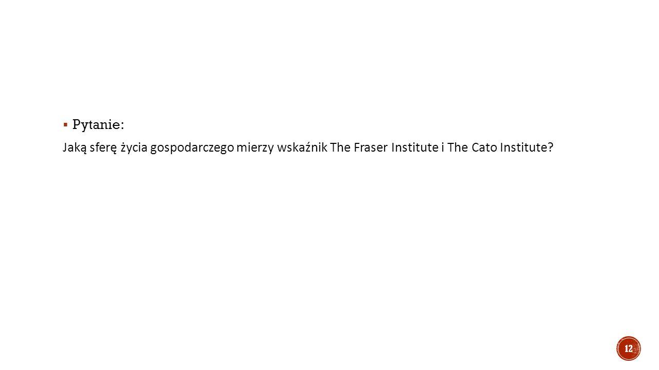  Pytanie: Jaką sferę życia gospodarczego mierzy wskaźnik The Fraser Institute i The Cato Institute.