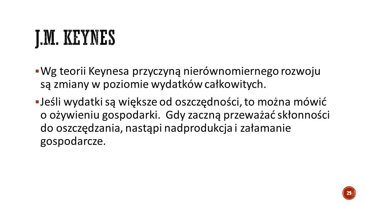  Wg teorii Keynesa przyczyną nierównomiernego rozwoju są zmiany w poziomie wydatków całkowitych.  Jeśli wydatki są większe od oszczędności, to można