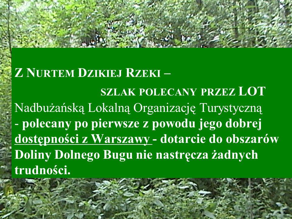 . Z N URTEM D ZIKIEJ R ZEKI – SZLAK POLECANY PRZEZ LOT Nadbużańską Lokalną Organizację Turystyczną - polecany po pierwsze z powodu jego dobrej dostępności z Warszawy - dotarcie do obszarów Doliny Dolnego Bugu nie nastręcza żadnych trudności.