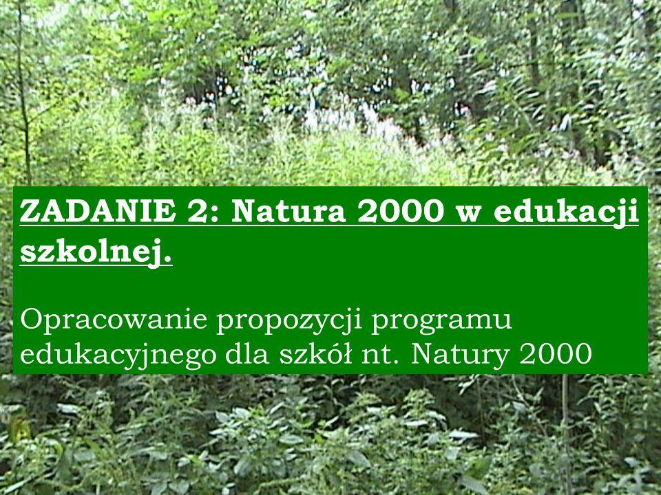 ZADANIE 2: Natura 2000 w edukacji szkolnej.