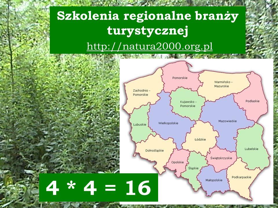Szkolenia regionalne branży turystycznej http://natura2000.org.pl 4 * 4 = 16
